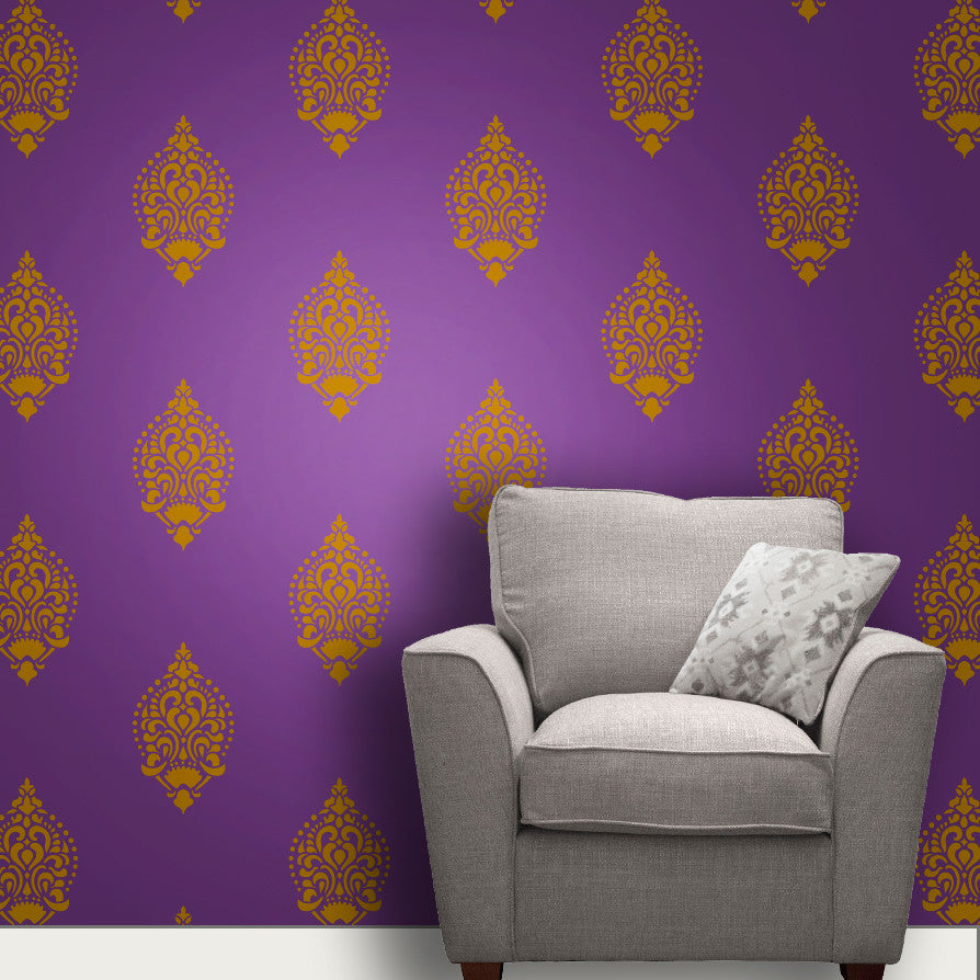 Online shopping india shop online for wall stencils wall indian paisleymotif stencil mws 12 amipublicfo Image collections