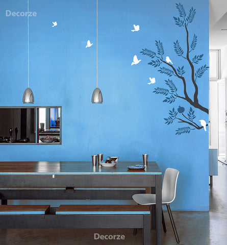 Large Tree wall branch with birds, TS-01