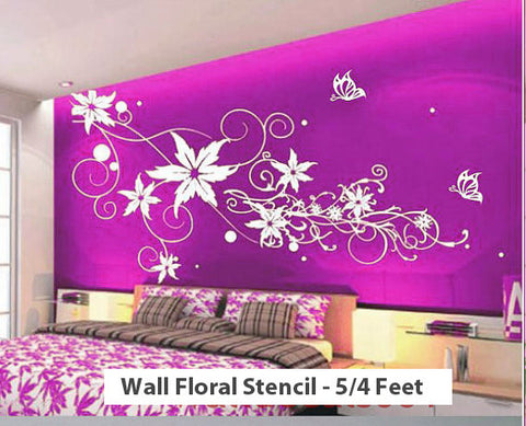 Custom Wall Floral Stencil - 5/4 Feet