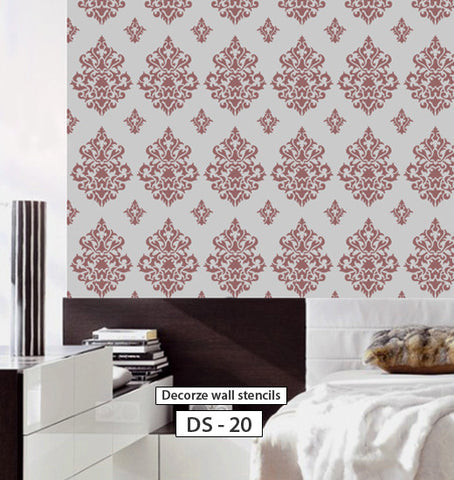 Reusable damask wall stencil, DIY decor, DS-20