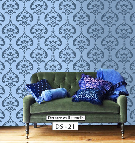 Damask wall stencil design , DS-21