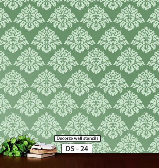 Damask stencil for wall