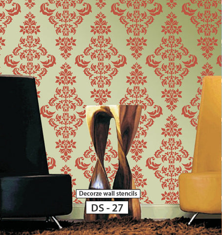 Beautiful living room wall stencil design, DS-27