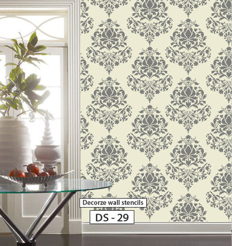 Living room wall stencil design, Damask stencils, DS-29