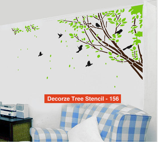 Tree and Birds Stencil Customize Design - 156