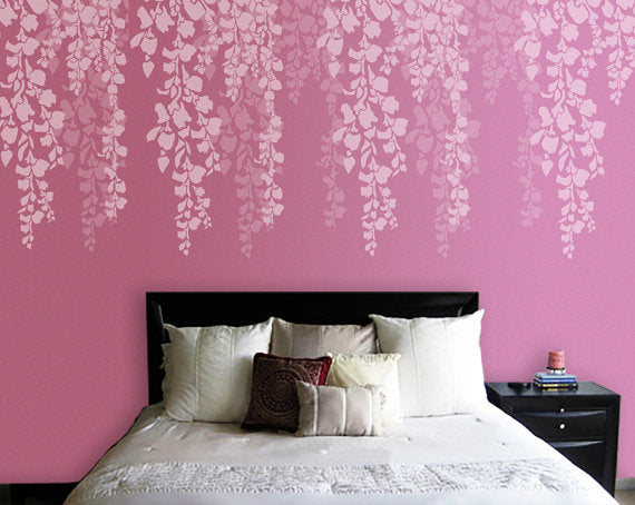 Cherry Blossom Stencil Bedroom Wall Painting Ideas Bedroom Wall Painting Ideas Cherry Blossom Stencil Cs 08 Reusable Wall Painting Stencils