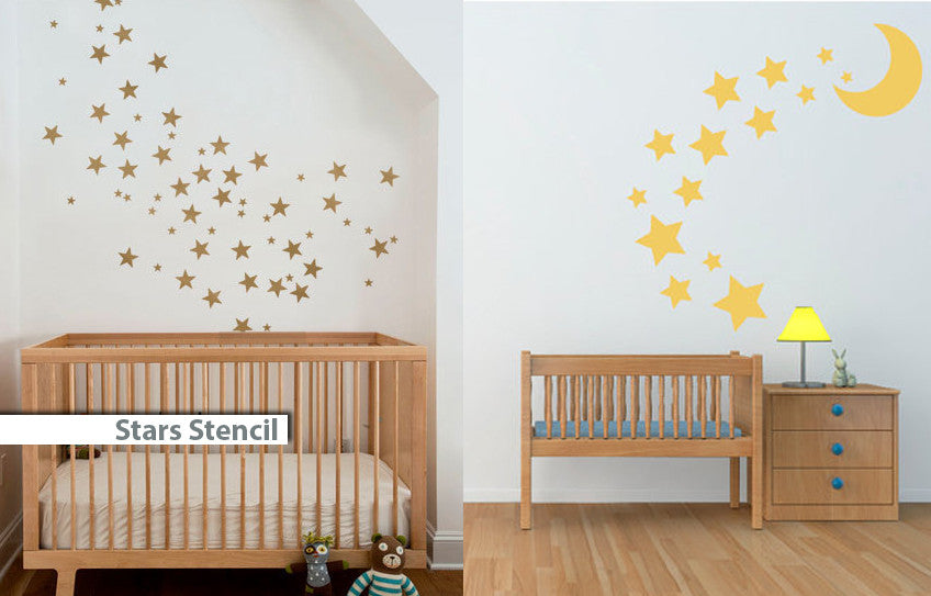 Stars with Moon Stencil customize sizes available