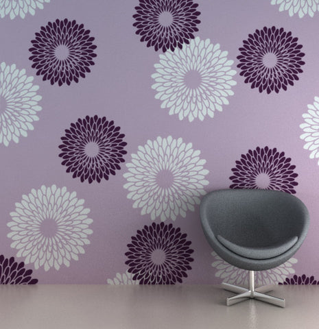 Flower wall stencils and wall product, FS-03
