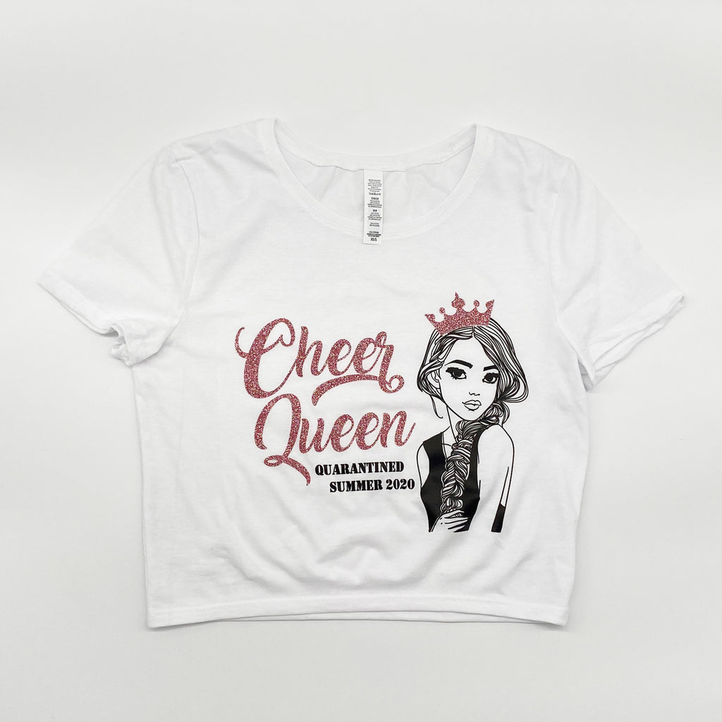 Cheer Queen Quarantined Sparkly Crop Tee (Shown in Rose Gold)