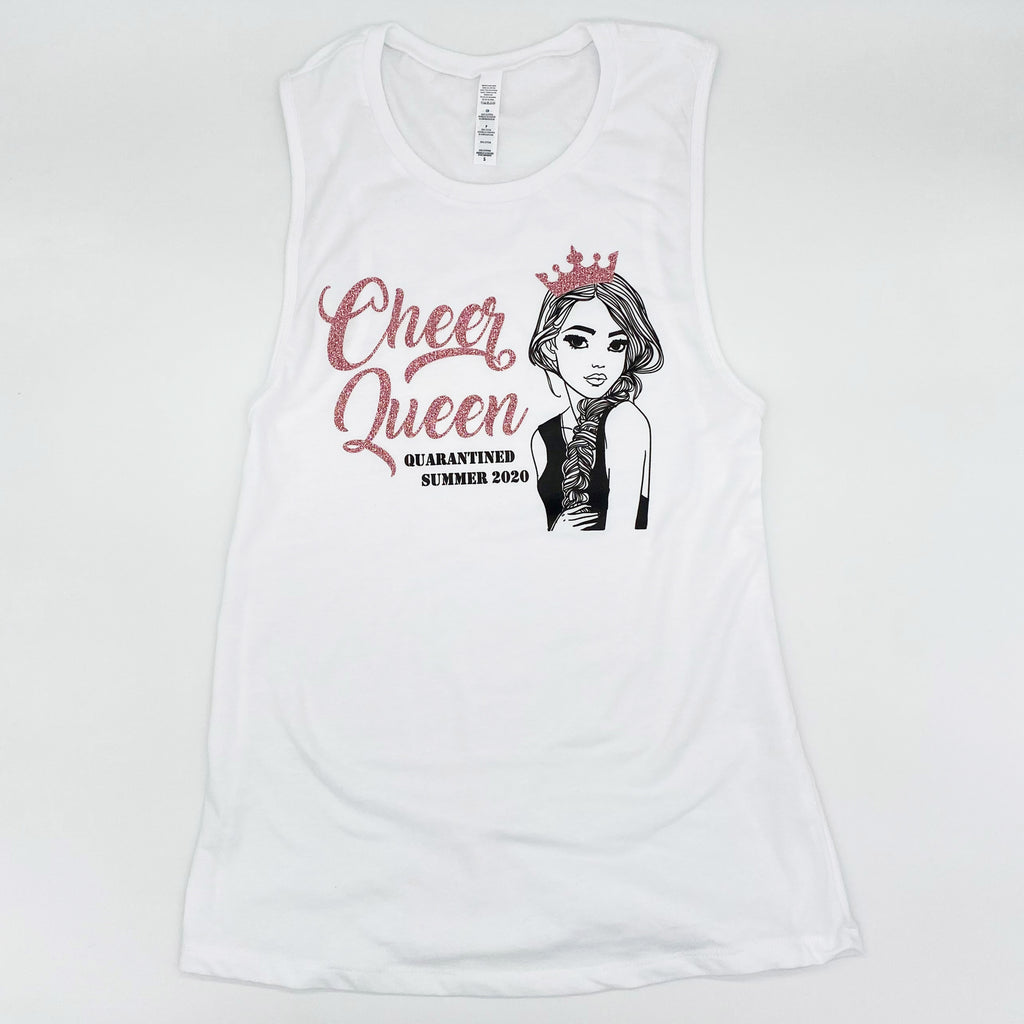 Cheer Queen Quarantined Sparkly Muscle Tank (Shown in Rose Gold)