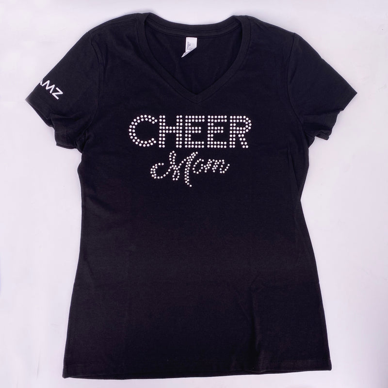 JAMZ Cheer Mom Black Rhinestone V Neck T-Shirt