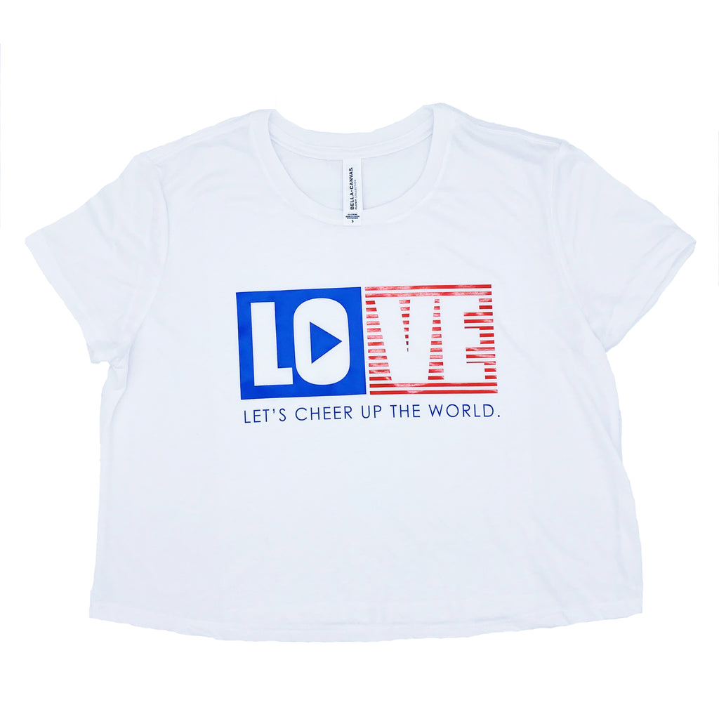 LOVE - Let's Cheer Up the World Flowy Cropped Tee