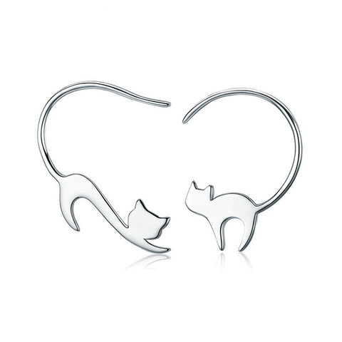 Stretching Cat Earrings - Fashion Cat Design