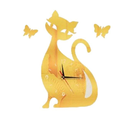 Cat Butterfly Wall Clock - Fashion Cat Design