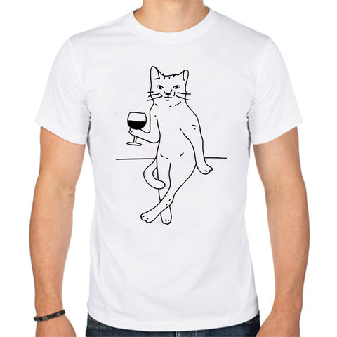 Sexy Cat Drink Wine T-Shirt