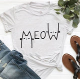 Meow Cat T Shirt - Fashion Cat Design