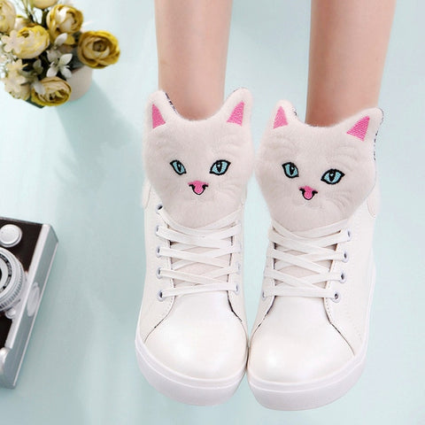 Cat High Top Sneakers - Fashion Cat Design