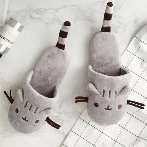 Cat Slippers With Tail