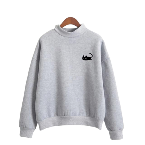 Black Cat Pullover - Gray