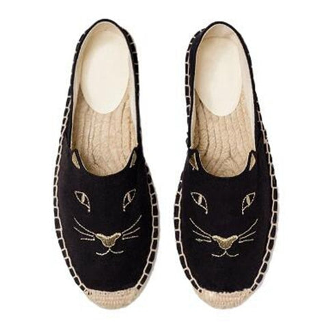 Embroider Cat Flat Shoes