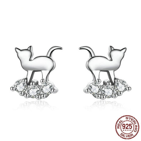 Sylver Crystal Cat Earrings