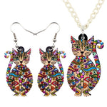 Acrylic Floral Cat Jewelry Set