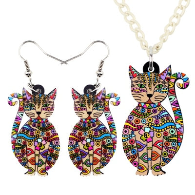 Acrylic Floral Cat </br> Jewelry Set - Fashion Cat Design