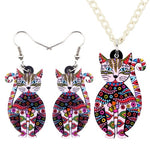 Acrylic Floral Cat </br> Jewelry Set