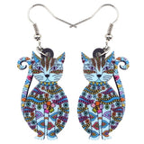 Acrylic Floral Cat Earrings - Fashion Cat Design