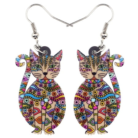 Acrylic Floral Cat Earrings multicolor