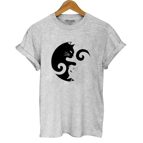 Yin Yang Cat T Shirt - gray