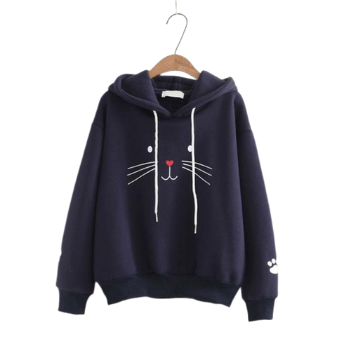 cat face hoodies- Blue