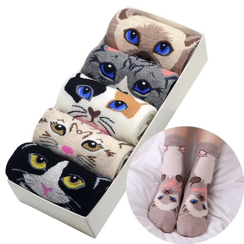 5pcs Cat Lover Socks - Fashion Cat Design