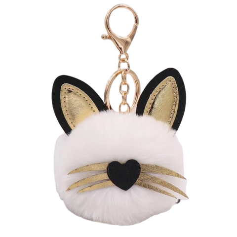 Cat Moustache and Ear Pom pom Keychain - Fashion Cat Design