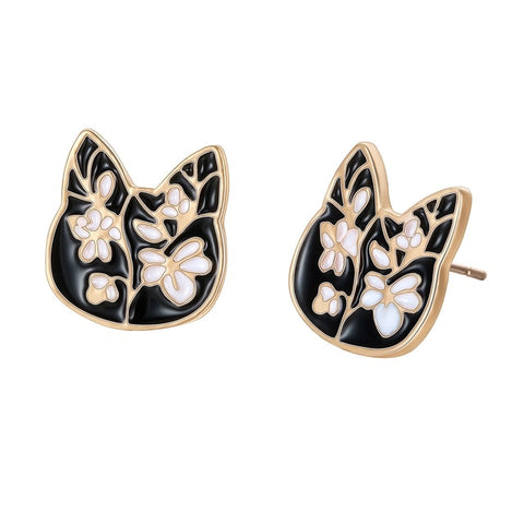 Flower Stud Cat Earrings gold
