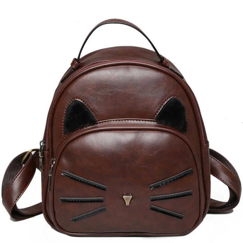 Leather Rucksack  Backpack - Fashion Cat Design