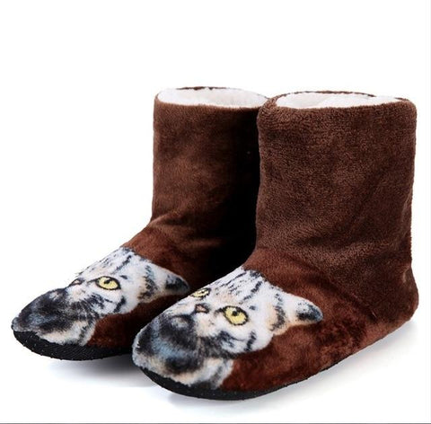 Cat Motif Slippers - Fashion Cat Design
