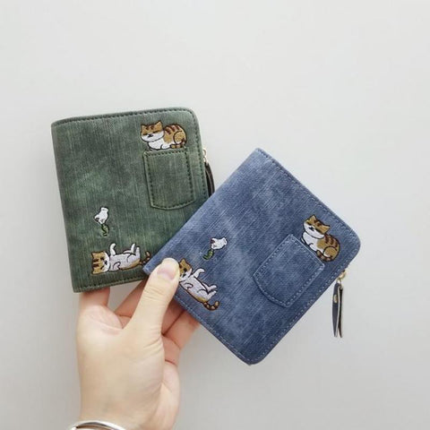 Embroidered </br>Cat Wallet - Fashion Cat Design