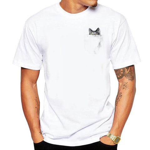 Cat Hidden in Pocket T-Shirt - Fashion Cat Design