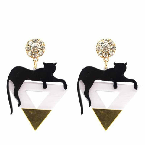 Black Cat Leopard Earrings