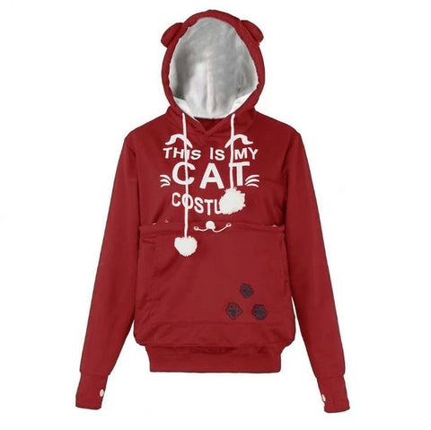 Cat Hoodies With Pouch - red