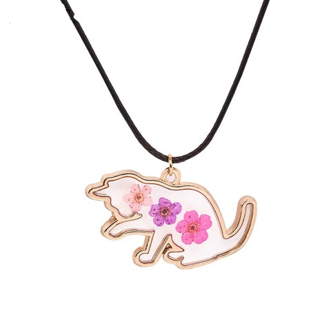 Cat with Dried Flowers Necklace - Fashion Cat Design