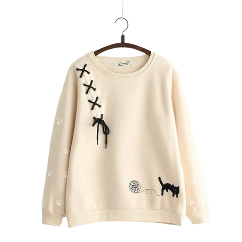 Cat Lace Pullover - Beige