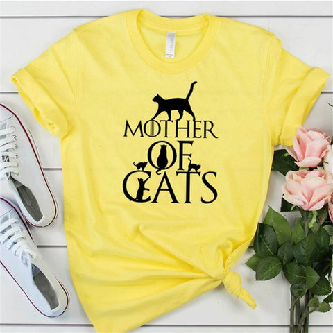 Mother of Cats T Shirt - yellow