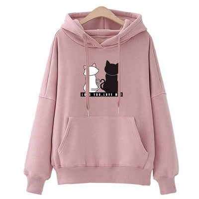 Cute Cat Hoodies Love You pink