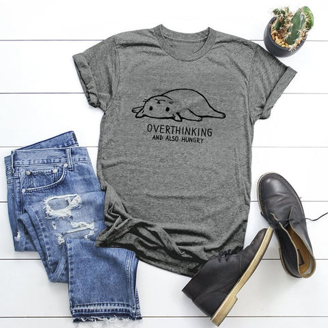 Overthinking Cat t shirt - gray