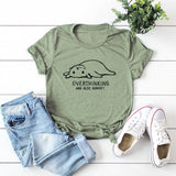 Overthinking Cat t shirt - green