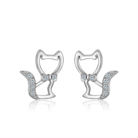 Zirconia Cat Earrings