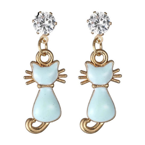 Blue Cat Dangle Earrings