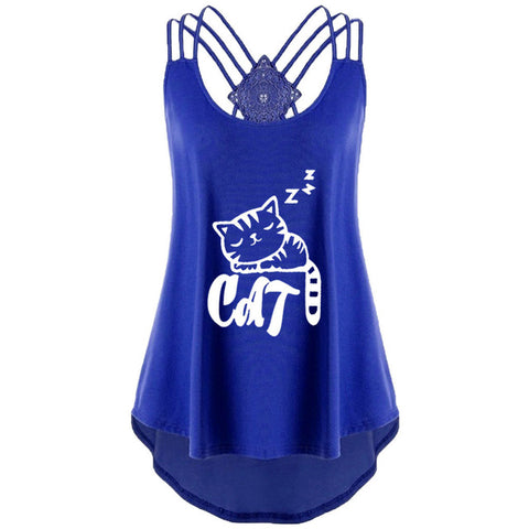 Strappy Cat Tank Top - Fashion Cat Design